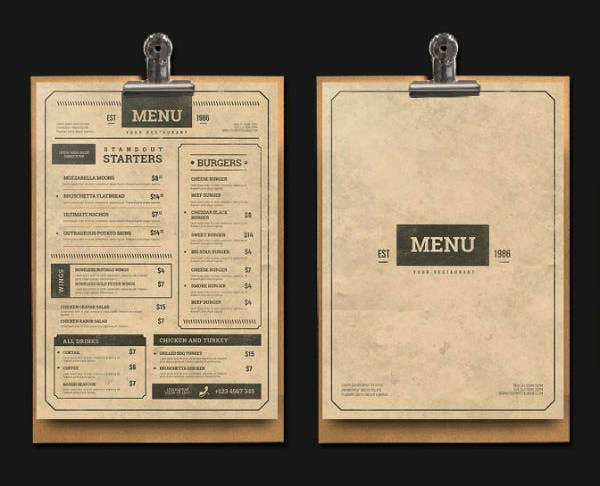 Vintage Restaurant Menu Card Template