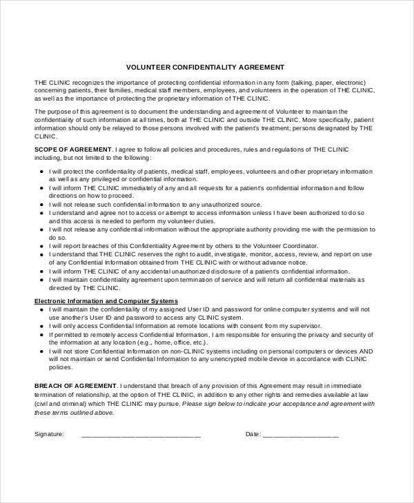 volunteer patient confidentiality agreement