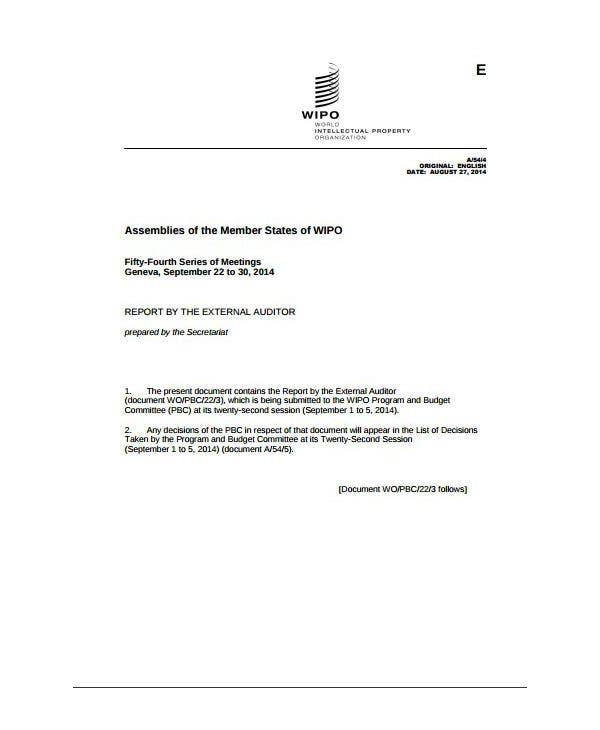 wipo external audit report template