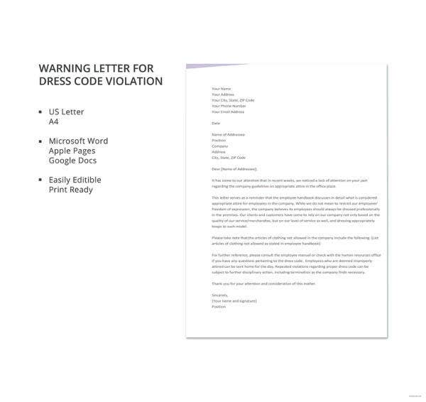 warning letter for dress code violation template