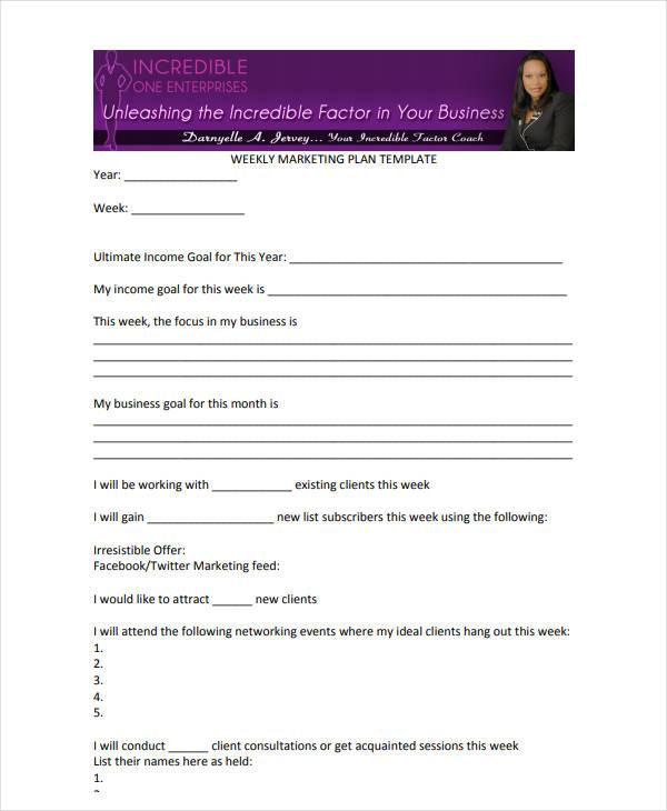 weekly sales plan example