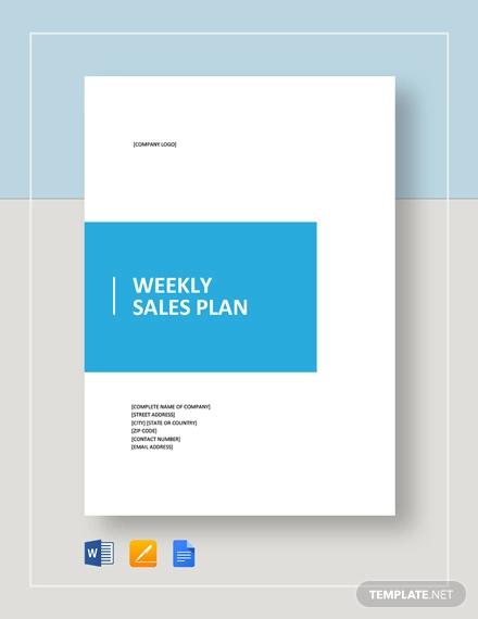 weekly sales plan template2
