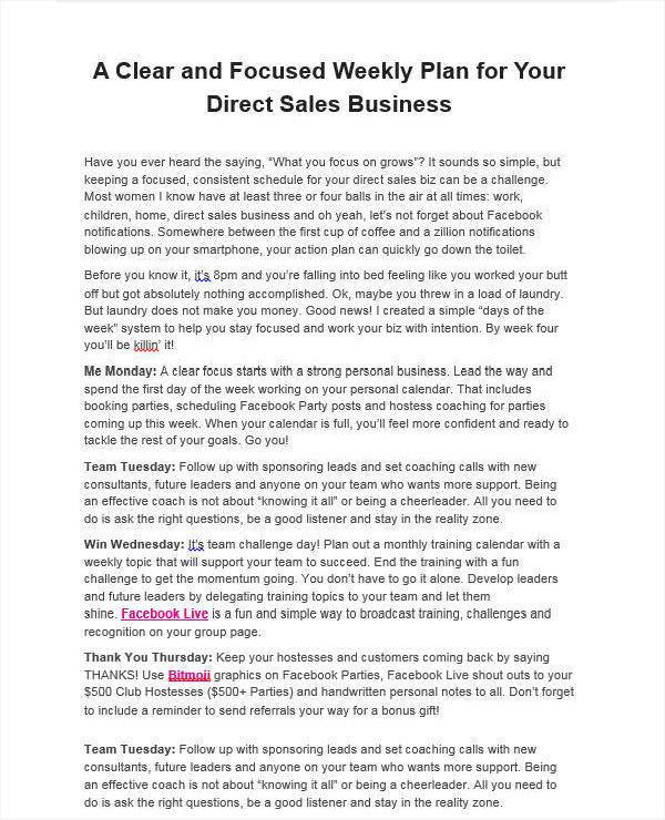 weekly sales work plan