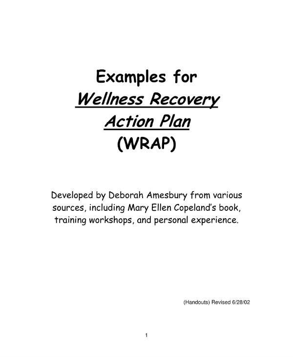 wellness recovery action plan examples