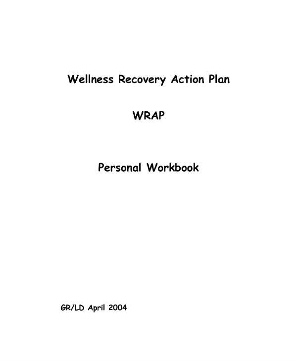 wellness recovery action plan personal workbook template