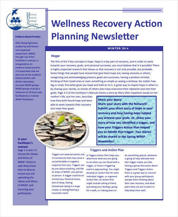 wellness recovery action planning newsletter