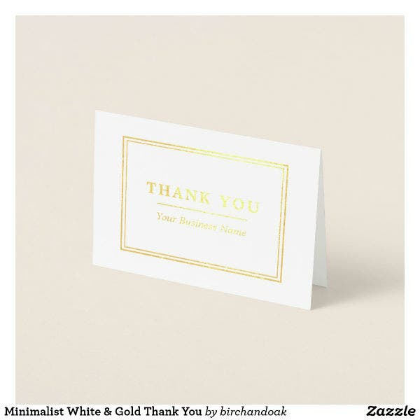white gold professional thank you card template