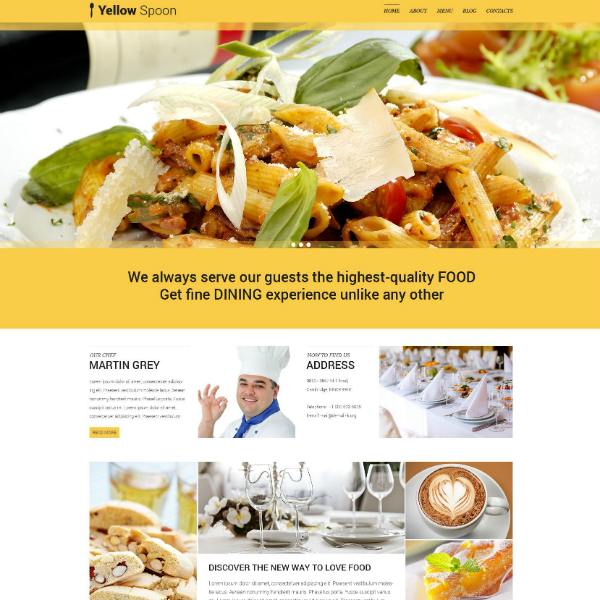 yellow spoon restaurant management website template