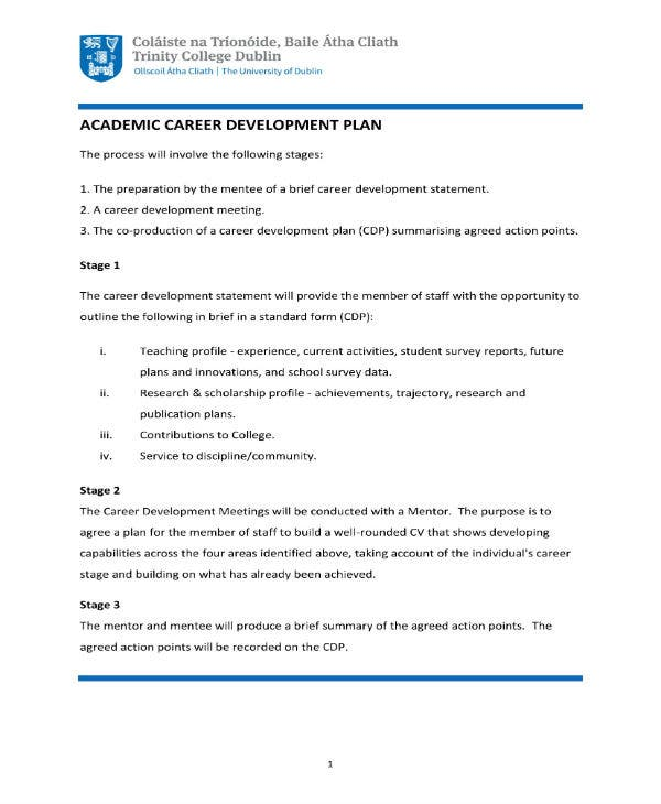 academic career development plan guideline 1