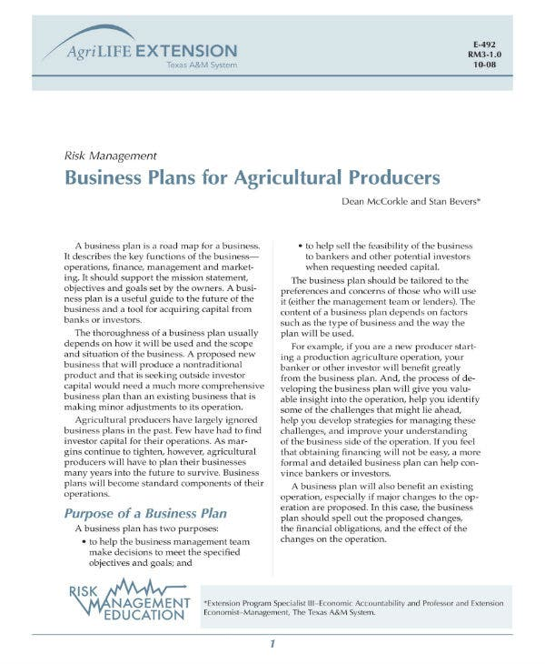 business plan for farmers 1