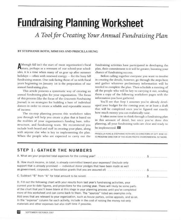 fundraising planning worksheet 1