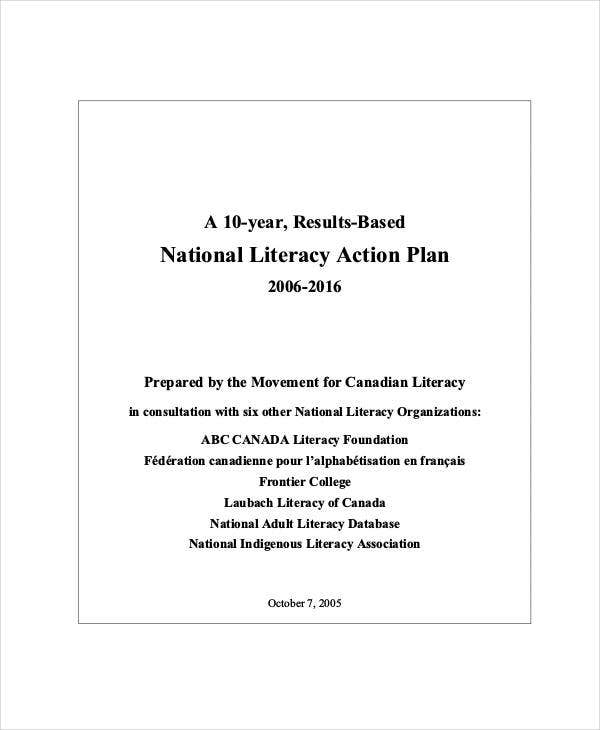 national literacy action paln