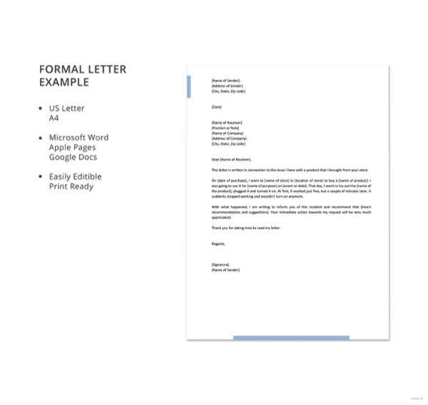 ormal letter example