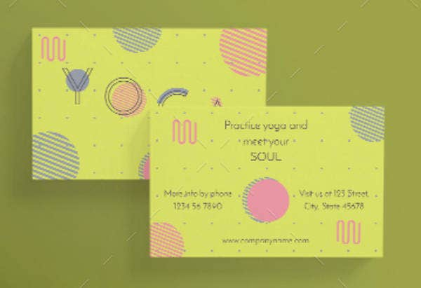 Abstract Yoga Business Card Sample