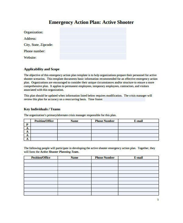 active shooter emergency action care plan template