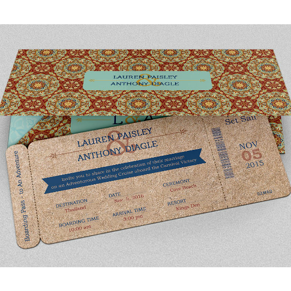 Adventure Wedding Boarding Pass Ticket