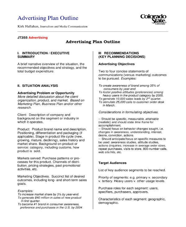 advertising plan outline 1