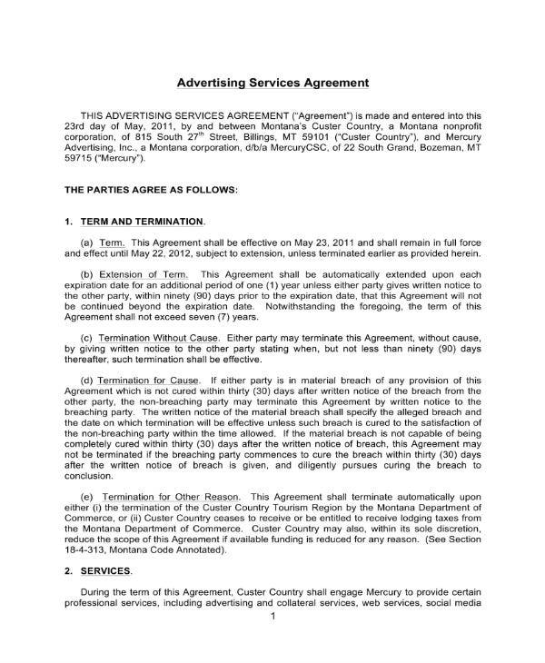 advertising services contract sample 1