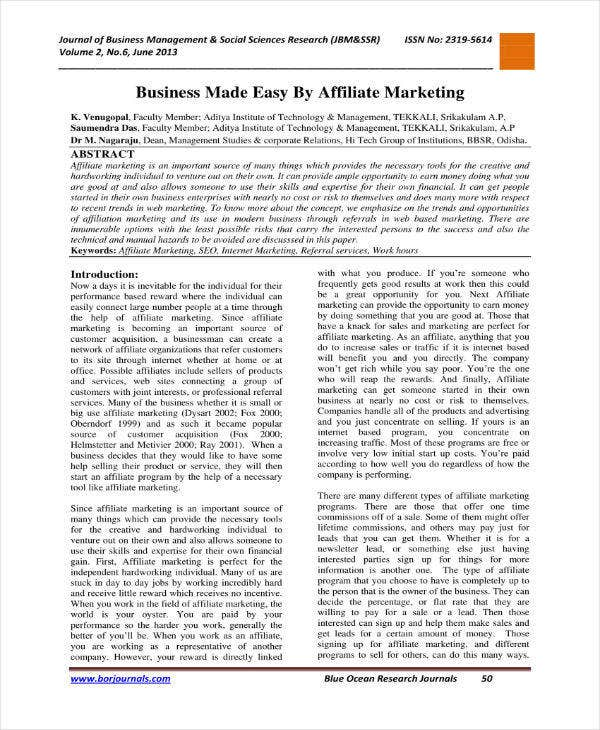 Affiliate Marketing Business Plan Sample
