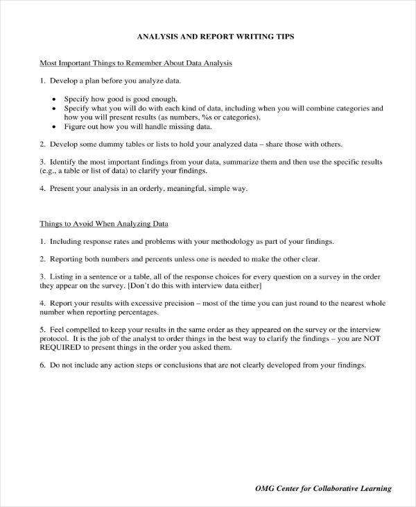 Analysis and Report Writing Tips