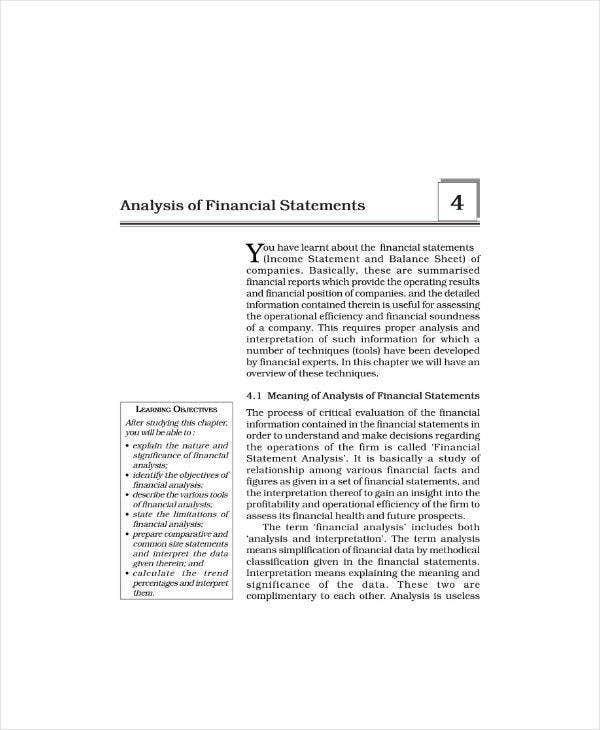 analysis of financial statements1