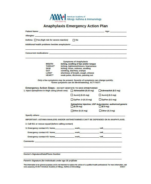 anaphylaxis emergency action care plan template