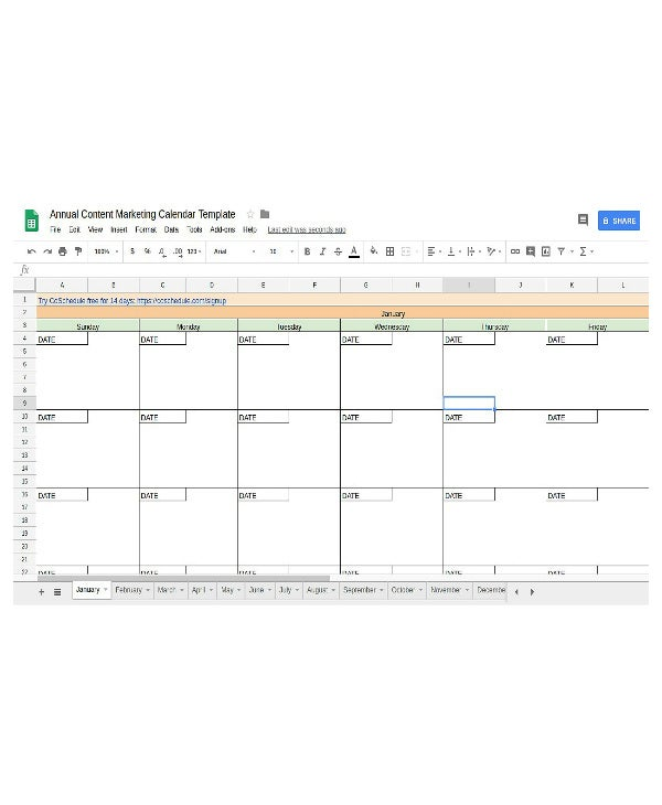 8+ Content Marketing Planning Calendar Templates
