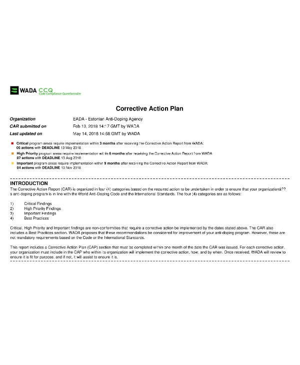anti doping agency corrective action plan sample