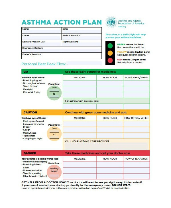 asthma emergency action plan template