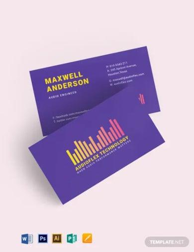 audio engineer business card template