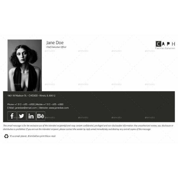 b and w ceo email signature template