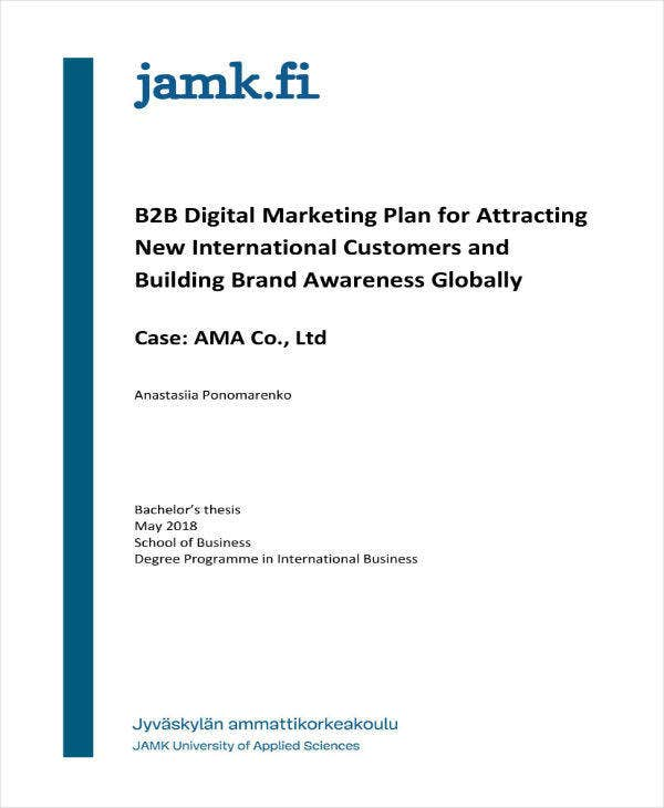 B2B Marketing Business Plan Sample