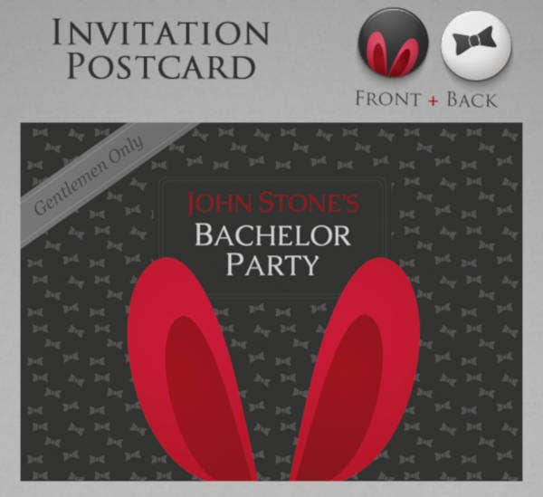 Bachelor Party Invitation Postcard