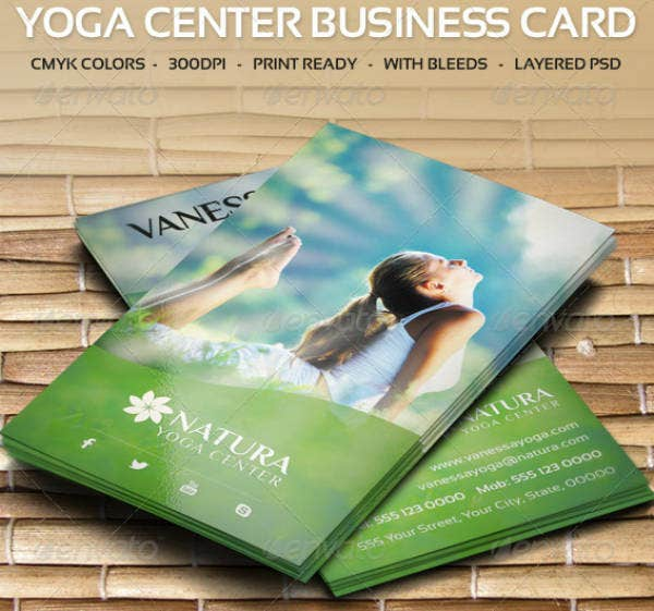 beautiful yoga center business card
