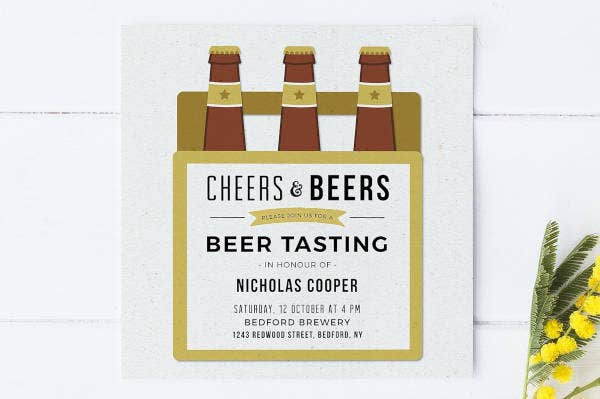 Beer Bachelor Party Invitation Example