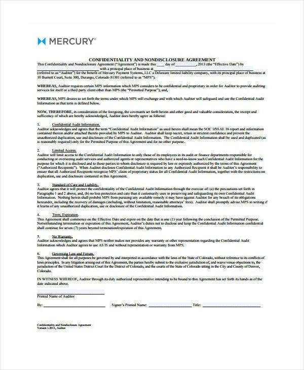Blank Audit Confidentiality Agreement Template