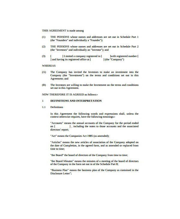 blank personal investment agreement template