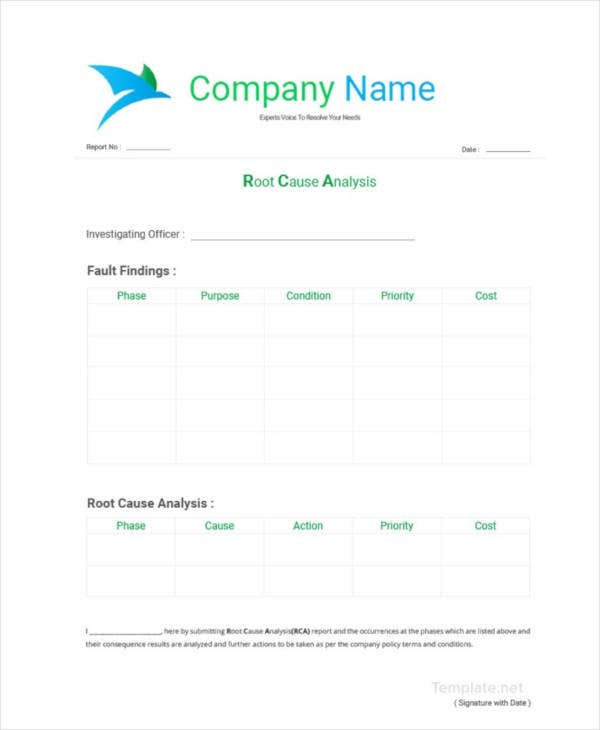 blank root cause analysis template