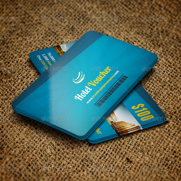 Blue Hotel Voucher Card Template