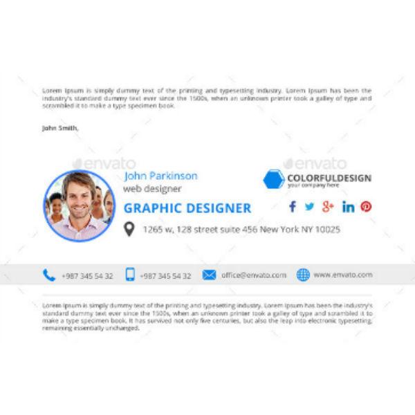 blue minimalist email signature template