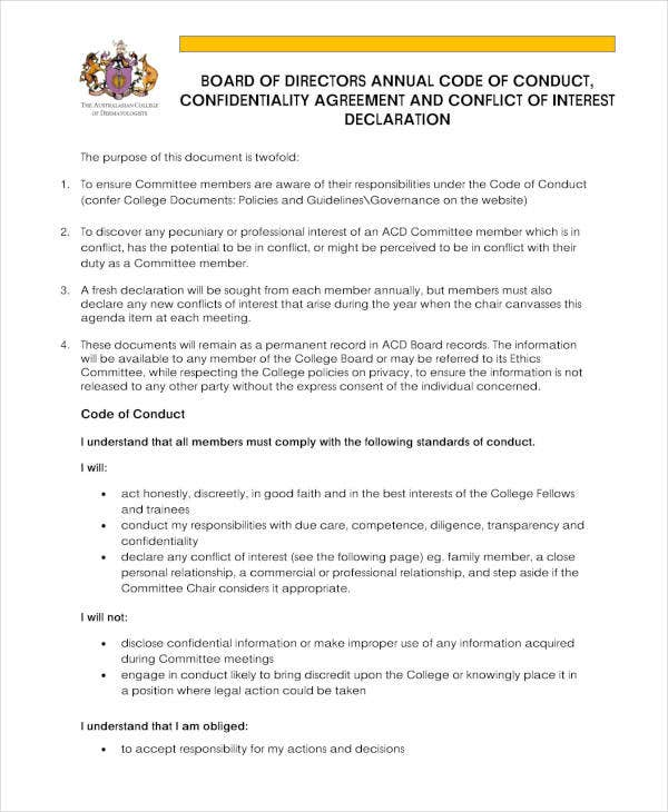 board of directors meeting confidentiality agreement1