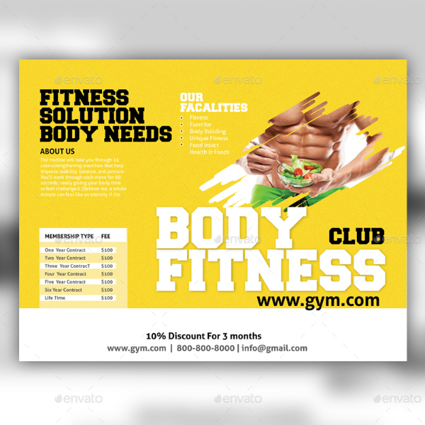 Body Fitness Club Brochure Template