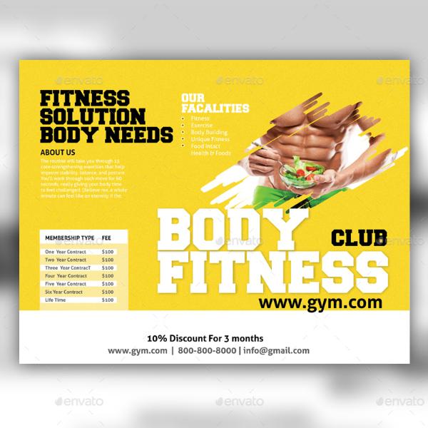 body fitness club brochure template