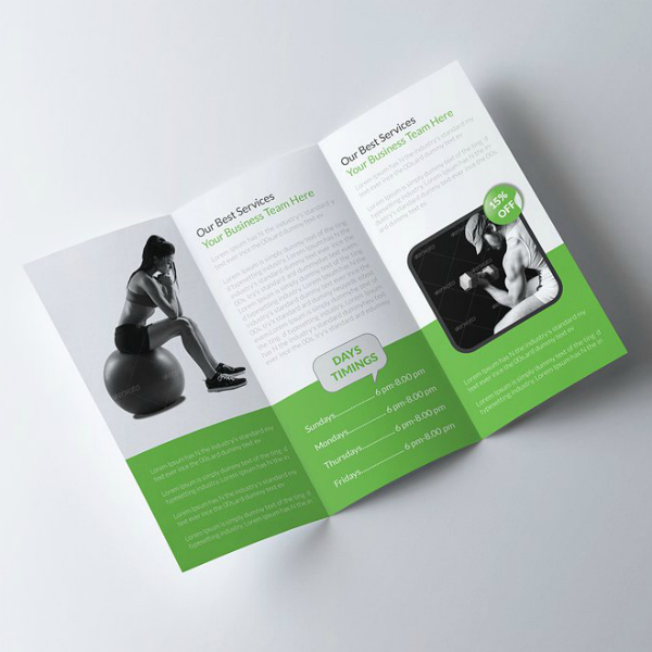 Body Fitness Tri-Fold Brochure Template