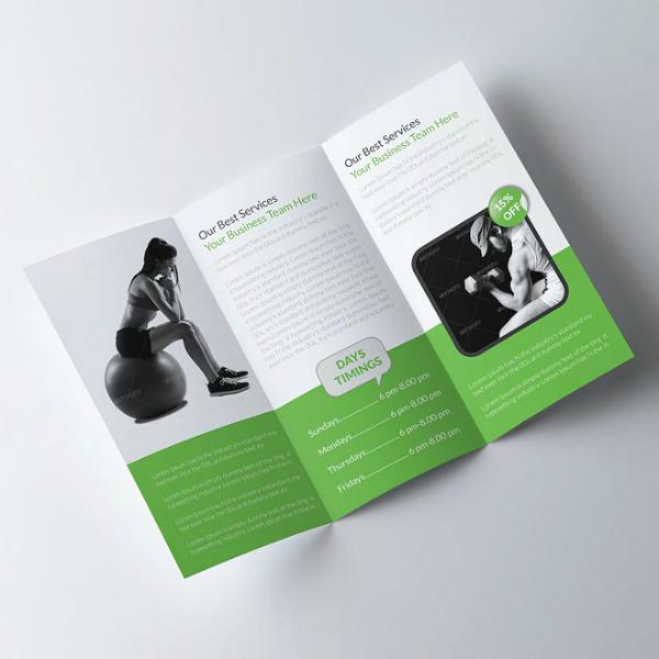 body fitness tri fold brochure template