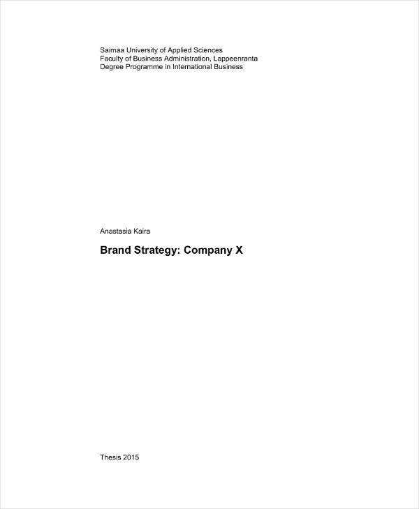 Brand Strategy Plan Example