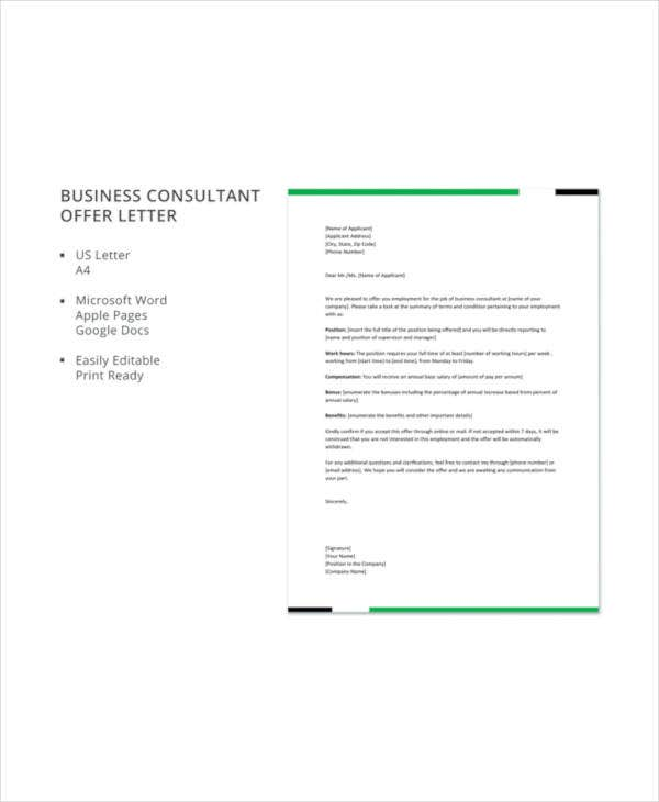 business consultant offer letter