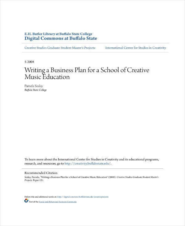 business plan for a school of creative music