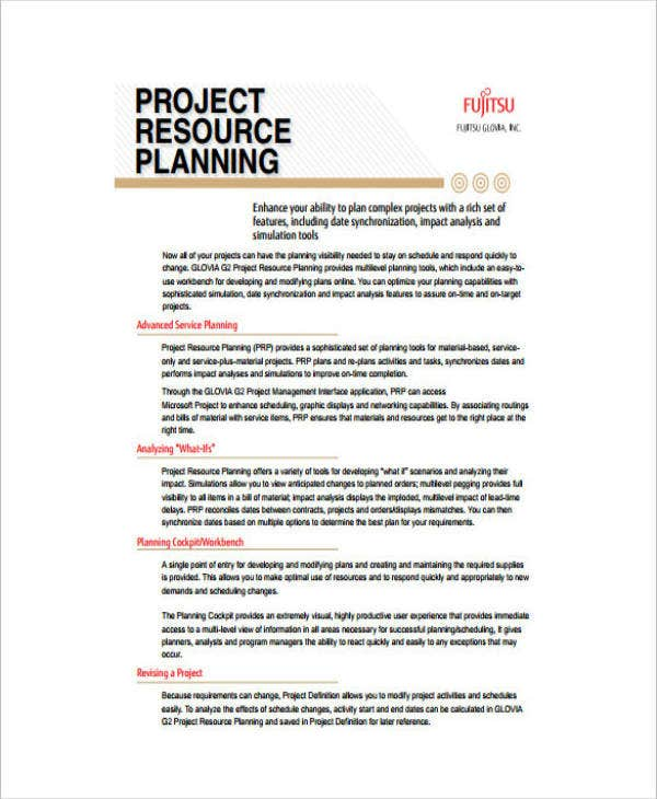 Business Project Resource Plan Example