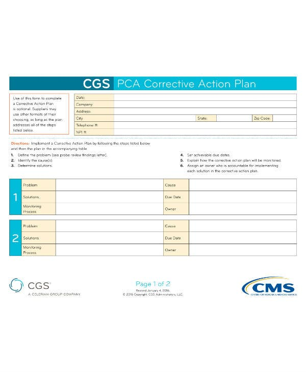 cgs corrective action plan